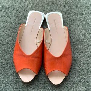 Zara Peep Toe Orange Flats